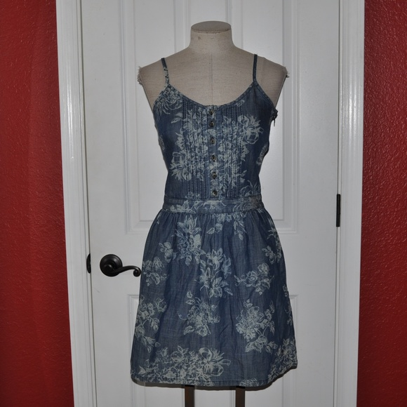 outlet for sale new high new lifestyle TOM TAILOR Floral Print Chambray Denim Dress [B3]